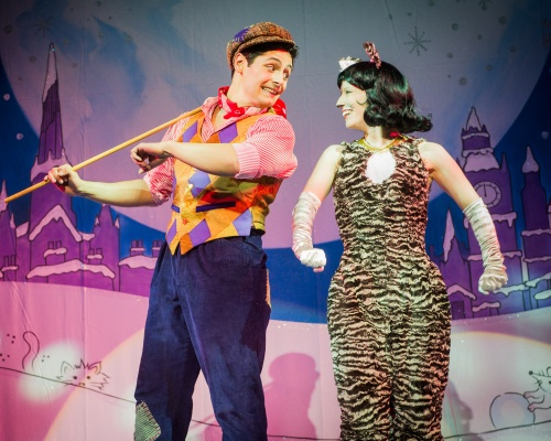Tom Oakley and Ella Vale in Dick Whittington and His Cat at Salisbury Playhouse - Credit Robert Workman